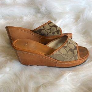 Coach Charma Platform Wedge Leather Slides Sandals